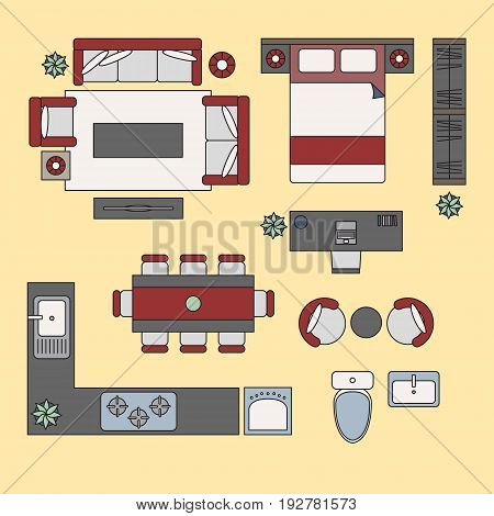Flat elements, flat interior top view vector