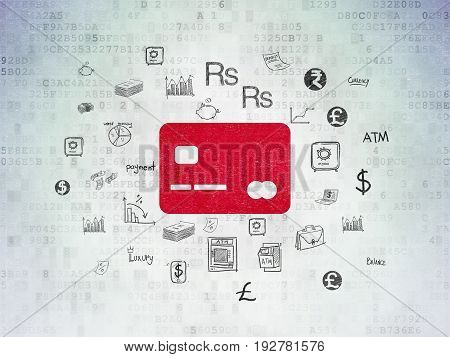 Currency concept: Painted red Credit Card icon on Digital Data Paper background with  Hand Drawn Finance Icons