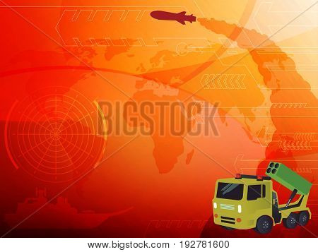 World war Rocket launcher background, vector illustration