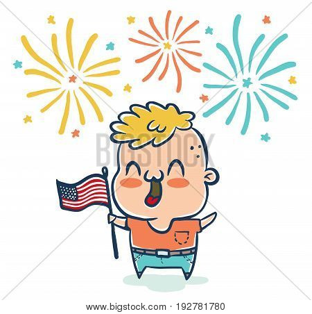 Vector illustration of a boy with flaf USA for 4th july . American independence day.