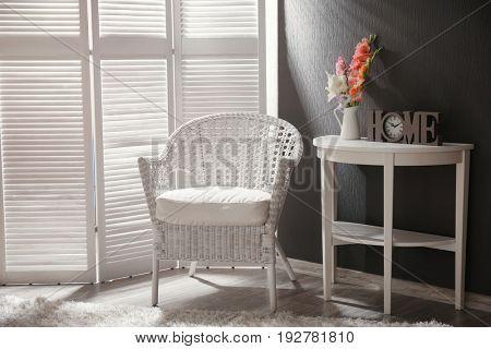 Interior design of room in grey-white colours
