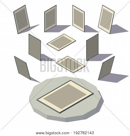 Vector isometric low poly Poster Frame. Vector low poly illustration.