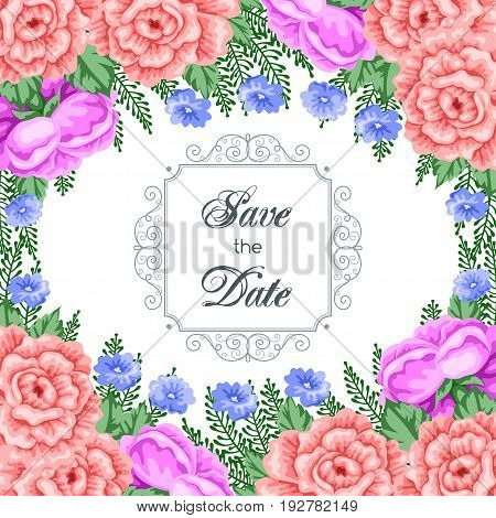 Save the Date card template with flowers. Vector Illustration in retro style