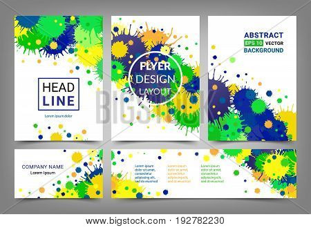 Artistic design set A4 size comparable brochures visiting card and horizontal banner. Flyer template collection. Abstract bright backgrounds made of blots. Brazilian flag colors. EPS 10 vector. Isolated.