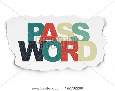 Security concept: Painted multicolor text Password on Torn Paper background
