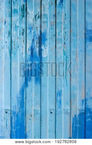 Texture Of Old Metal Plate Painted With Blue Dye