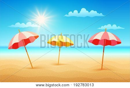 Vector illustration of a empty tropical beach in summer day with umbrellas. Tropical beach in sunny day. Game background.