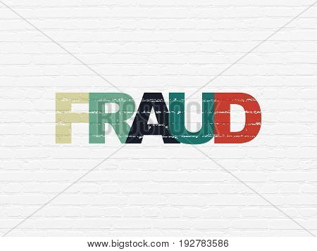 Protection concept: Painted multicolor text Fraud on White Brick wall background