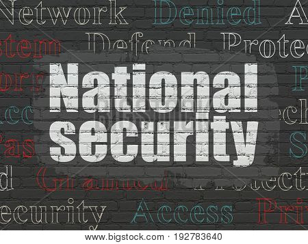 Safety concept: Painted white text National Security on Black Brick wall background with  Tag Cloud