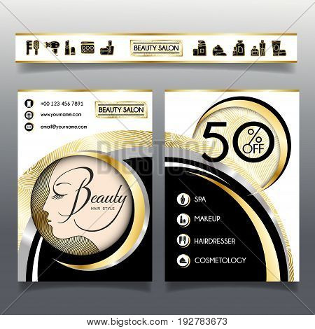 Business brochure template for beauty salon and hairdressing shop. Vector illustration face of girl with golden hair and cosmetics icons for use on booklets flyers business card.