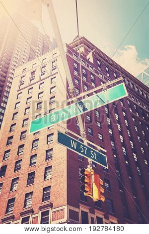 West 57 Street And Broadway Street Signs In Manhattan.