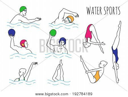 Water sport set. Illustration waterpolo players divers synchro-swimmers. EPS 10 vector collection isolated on white.