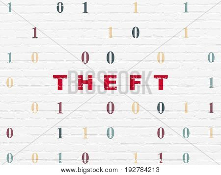 Security concept: Painted red text Theft on White Brick wall background with Binary Code