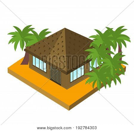 Bungalow with palm trees. Isometric vector icon for touristic business. Tropic house isolated on white.
