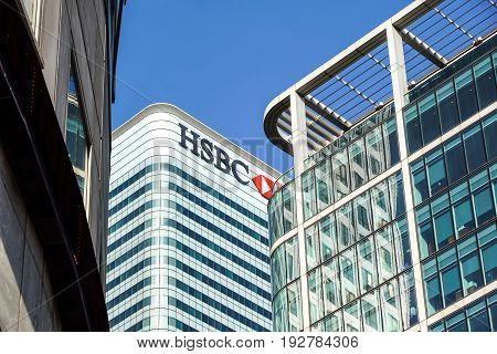 London, Uk - 6th April 2017 : HSBC bank HQ in the city of London. HSBC is one of the UKs largest retail and investment banks.