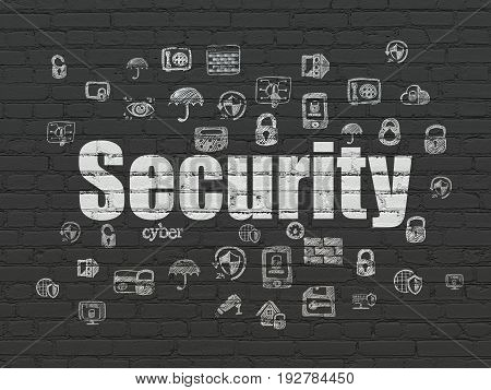 Protection concept: Painted white text Security on Black Brick wall background with  Hand Drawn Security Icons