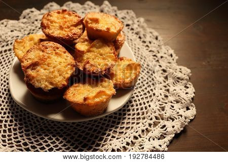Beautiful muffins on a dark wooden background. Vignetting and darkening on the background light on sweets.
