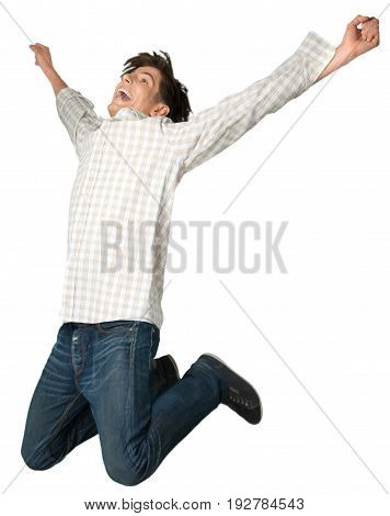 Happy young man jumping jump handsome arms outstretched