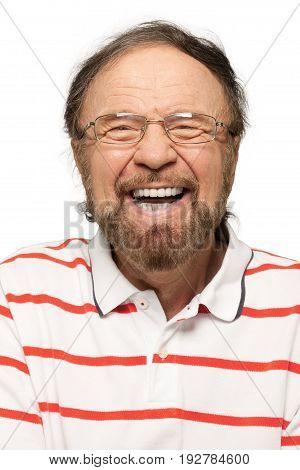 Laughing man handsome senior senior man facial expression white