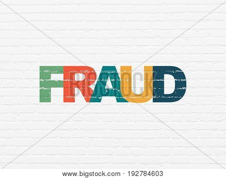 Privacy concept: Painted multicolor text Fraud on White Brick wall background