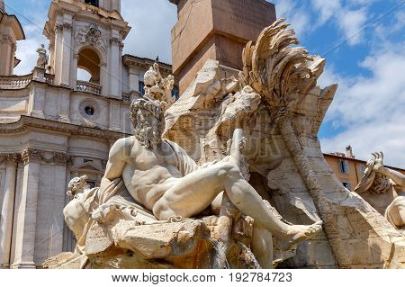 The famous square of Navona at dawn. Rome. Italy.
