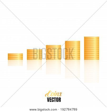 Coins stacks. Financial growth concept illustration. Money isolated with smooth reflection