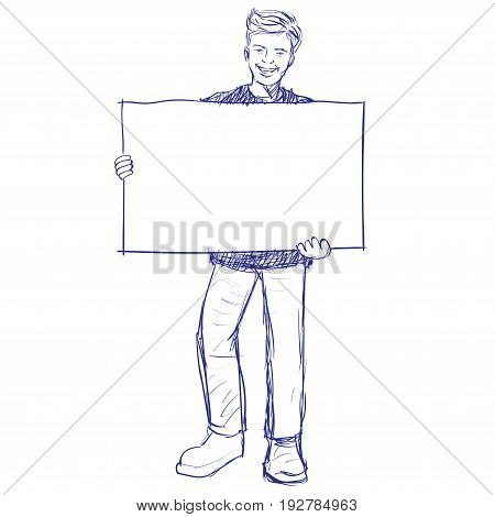 Man holding blank board, holds a placard. The man  holding a white poster. Hand drawn Vector