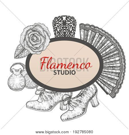 vector hand drawn flamenco template with banner rose fan comb shoes and castanets