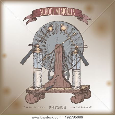 Antique electricity generator aka Wimshurst influence machine model color sketch placed on vintage background. School memories collection. Great for school, education, antique shop, retro design.