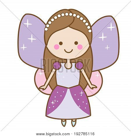 Cute kawaii fairiy character. Winged pixie princess in beautiful dress. Cartoon style girls kids stickers children illustration scrapbook element