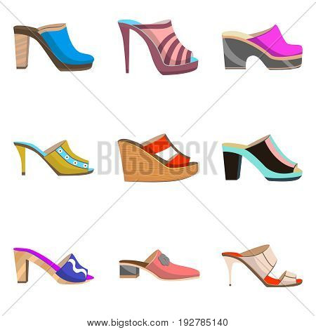 vector set with women shoes - clogs and mule shoes