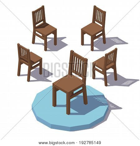 Isometric low poly wooden chair. Vector low poly illustration.