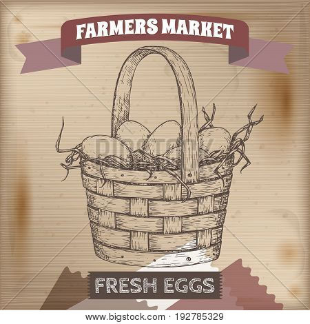 Vintage farmers market label with egg basket. Placed on wooden texture. Includes hand drawn elements.
