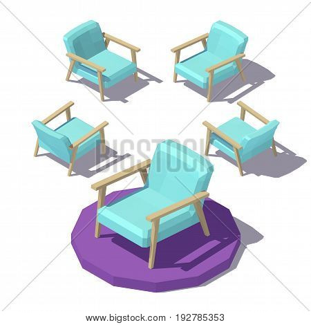 Isometric low poly Wide Armchair. Vector low poly illustration.