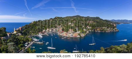 Aerial panorama of luxury resort Portofino in Liguria. Italy