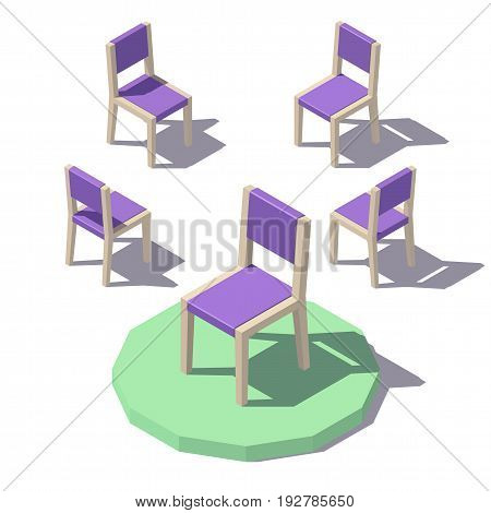 Isometric low poly Chair. Vector low poly illustration.