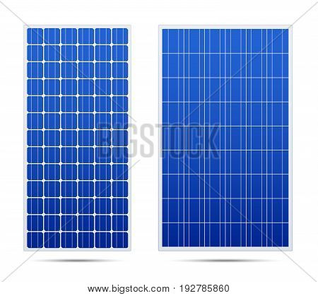 Solar vector panels. with cells. Realistic 3d set.