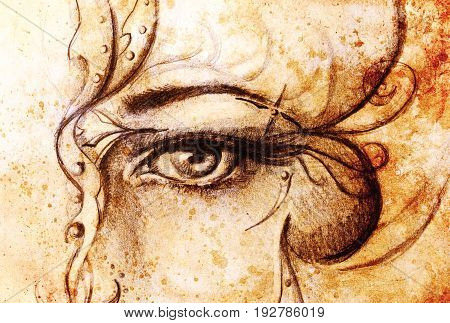 Mystic woman eye with ornament. pencil drawing on old paper. Color effect