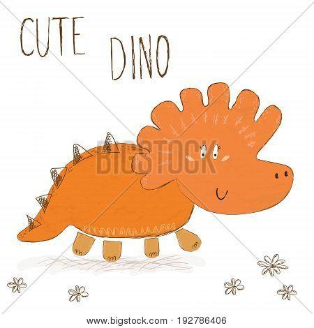 Cute hand drawn dinosaur illustration. vector print.