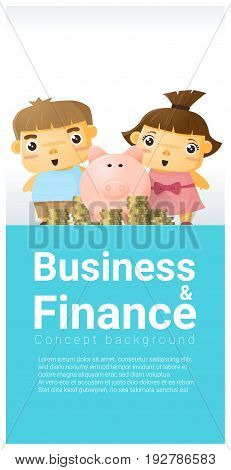 Business and Finance concept background with children saving money , vector , illustration