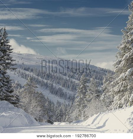 Mountain ski resort Hundfjället in Sweden .