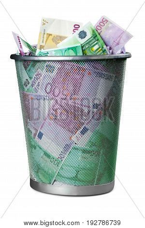 Euro trash bin white money isolated business