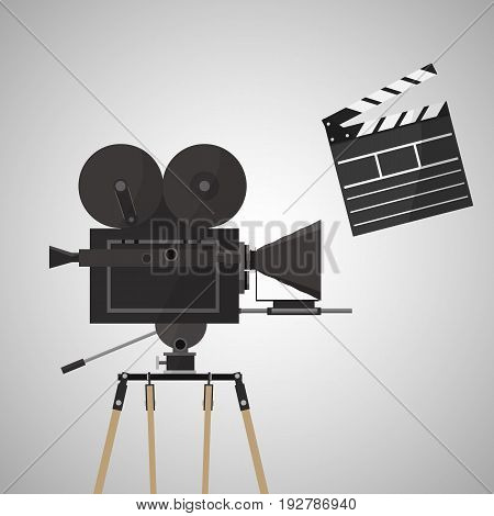 Retro Movie Camera on a tripod, isolated on the white. Vector Illustration
