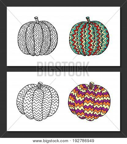 Pumpkins with hand-drawn geometric ornaments. Black-white and colored samples. Coloring page for adult, posters, t-shirt pillow case prints. EPS 10 vector. Isolated.