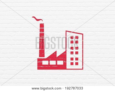 Finance concept: Painted red Industry Building icon on White Brick wall background