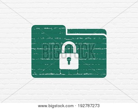 Business concept: Painted green Folder With Lock icon on White Brick wall background