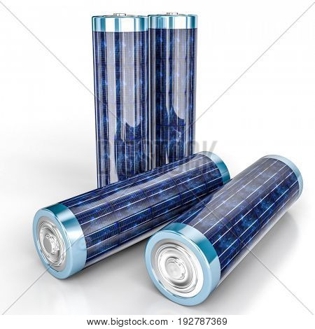 solar energy aa battery 3d rendering image
