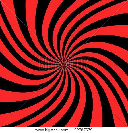 Abstract spiral background from red and black curved ray stripes - vector graphic