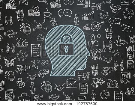 Finance concept: Chalk Blue Head With Padlock icon on School board background with  Hand Drawn Business Icons, School Board