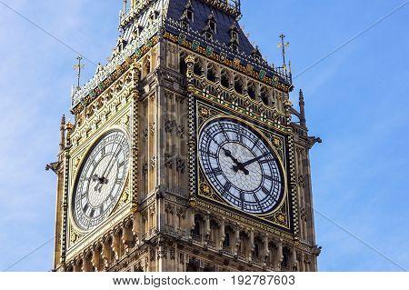 Big Ben Elizabeth tower clock face, Palace of Westminster, London, UK .